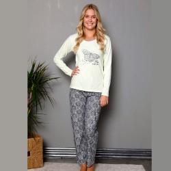 Piżama damska jasnozielona z motylem nowoczesny wzór S M L XL