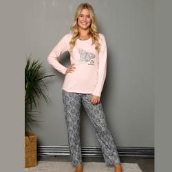 Piżama jasnoróżowa damska nadruk z motylem S M L XL