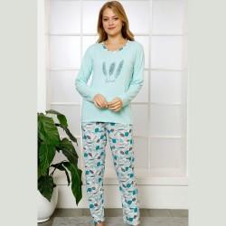 Piżama damska bawełniana z wzorem odcień miętowy S M L XL