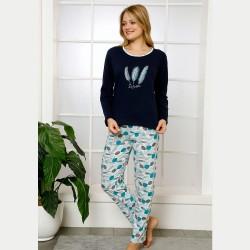 Bawełniana damska piżama kolor granatowy S M L XL