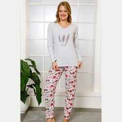 Urocza damska piżama bawełniana czerwone w pióra S M L XL
