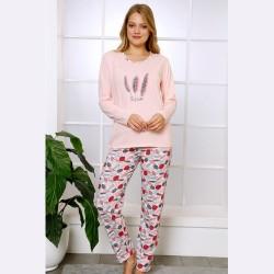 Bawełniana piżama damska jasnoróżowa wzór w piórka S M L XL
