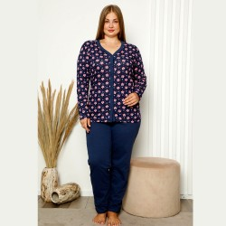 Granatowo-różowa piżama damska plus size rozpinana XL 2XL 3XL 4XL