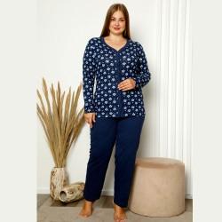 Rozpinana piżama damska ciemna plus size XL 2XL 3XL 4XL