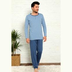 Jasnoniebieska piżama męska bawełna z wzorem M L XL 2XL