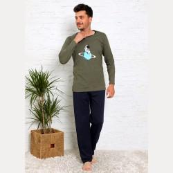 Wygodna piżama męska bawełna kolor khaki M L XL 2XL
