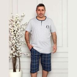 Rozpinana piżama męska krótka kolor szaro-niebieski XL 2XL 3XL 4XL