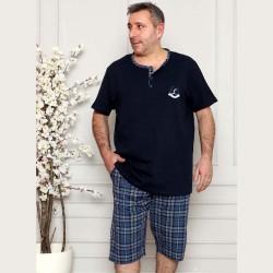 Granatowa wygodna piżama męska krótka rozpinana XL 2XL 3XL 4XL