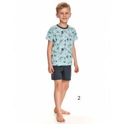 Piżama chłopięca niebieska bawełna ciemny wzór 98 do 152