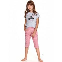 Piżama dziewczęca kolor szaro-różowy wór w gwiazdki 134 140