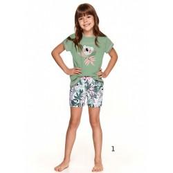 Śliczna zielona piżama dziewczęca z letnim wzorem z koalą 86 92