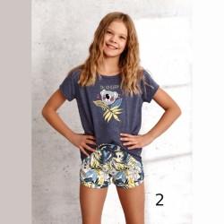 Letnia piżama dziewczęca z koalą kolor grafitowy 146