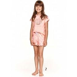 Bawełniana piżama dziewczęca z muszelką jasny róż 128 140