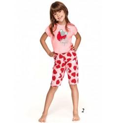 Różowa piżama dziewczęca  bawełniana z czerwonym wzorem 128 140