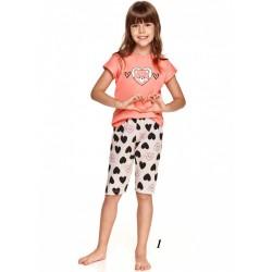 Piękna bawełniana piżama dziewczęca wzór w serduszka 116