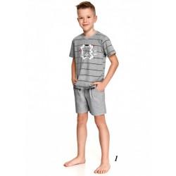 Jasnoszara piżama chłopięca z zabawnym nadrukiem 104 do 140