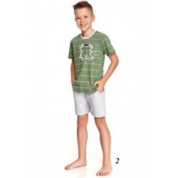 Zielona piżama chłopięca z jasnym nadrukiem 104 do 134