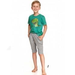 Zielono-szara piżama chłopięca nadruk z dinozaurem 128