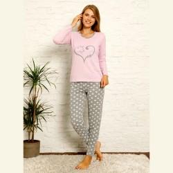 Fioletowa bawełniana piżama damska z kotem S M L XL 2XL