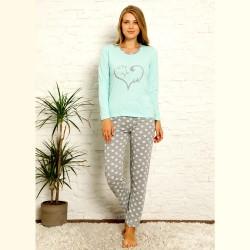 Piżama damska z sercem bawełniana kolor miętowy S M L XL 2XL