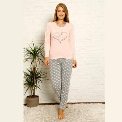 Długa bawełniana piżama damska nadruk z sercem S M L XL 2XL