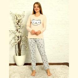 Piżama damska bawełniana jasny nadruk odcień łososiowy S M L XL 2XL