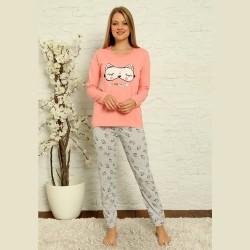 Wygodna piżama damska bawełniana kolor różowy S M L XL 2XL