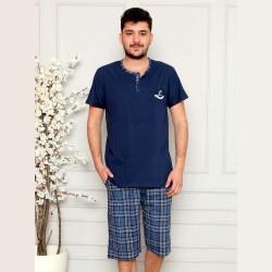 Ciemnoniebieska piżama męska krótka M L XL 2XL 3XL