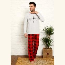 Piżama męska bawełna wzór w czerwoną kratę M L XL 2XL