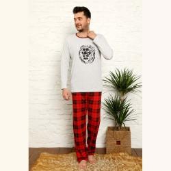 Męska piżama w kratę bawełna kolor szaro-czerwony M L XL 2XL