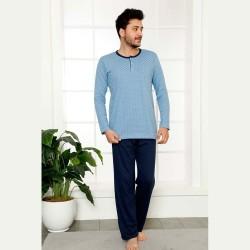 Męska dwuczęściowa piżama bawełna niebiesko-granatowa M L XL 2XL