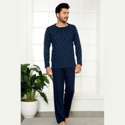 Dwuczęściowa piżama męska bawełna kolor granatowy M L XL 2XL
