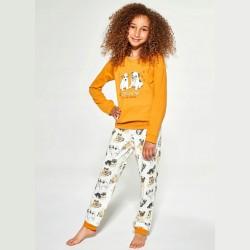 Pomarańczowa bawełniana piżama dziewczęca wzór w pieski 122/128 86/92