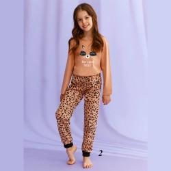 Piżama dziewczęca w panterkę z długim rękawem i ściągaczami 134