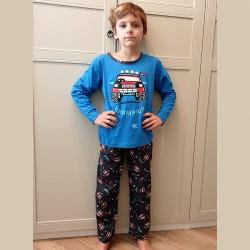 Piżama niebieska chłopięca nadruk z samochodem 122 do 152