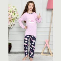 Piżama dziewczęca jasny róż nadruk z misiem 122 do 152