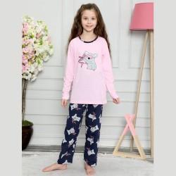 Różowo-granatowa piżama dla dziewczynki z uroczą koalą 122 do 152