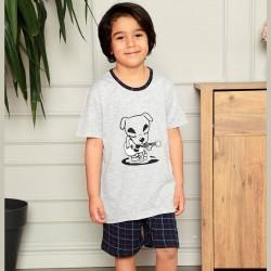 Wygodna piżama chłopięca szara z nadrukiem 134 do 164