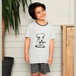 Jasna piżama dla chłopca szary kolor nadruk z pieskiem 134 do 164