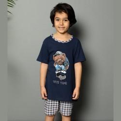 Piżama dla chłopca w jasną kratę nadruk z misiem 134 do 164