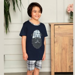 Piżama dla chłopca niebieska krata 134 do 164