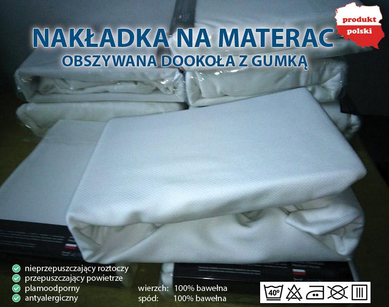 Nakładka Ochraniacz na materac 140x200 Wykonane z gumy, gładka powierzchnia.